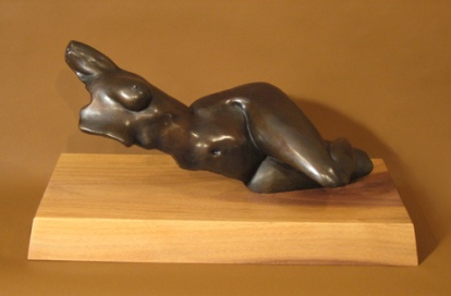 Bronze, walnut base 8.5 x 8 x 16.5""